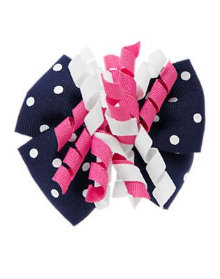 Spring Navy Dot Polka Dot Bow Curly Hair Clip by Gymboree