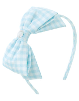 Dewdrop Gingham Gem Bow Gingham Headband by Gymboree