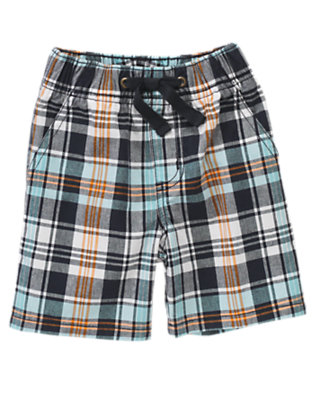 Navy Mini Plaid Pull-On Plaid Short by Gymboree