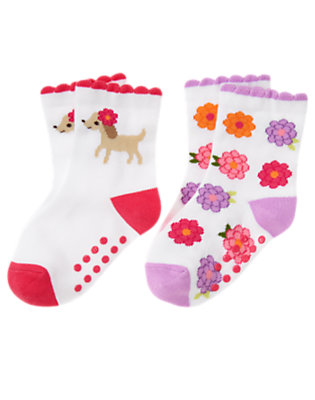 Toddler Girls White Puppy Flower Sock Two-Pack by Gymboree