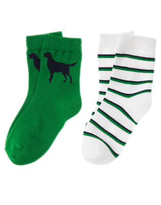 Grass Green Dog Stripe Sock Two-Pack by Gymboree