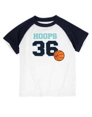 White Basketball Hoops Raglan Tee by Gymboree