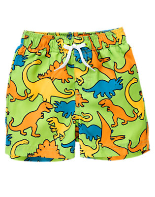 Toddler Boys Lime Dinos Dinosaur Swim Trunk by Gymboree
