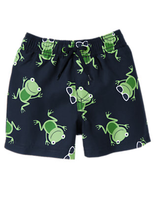 Spring Navy Frogs Frog Swim Trunk by Gymboree