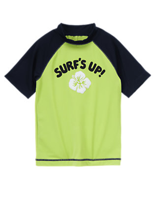 Boys Bright Lime Surf's Up Rash Guard by Gymboree