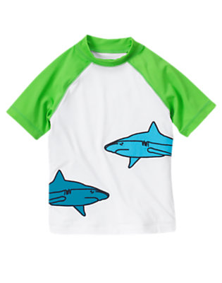 Boys White Shark Rash Guard by Gymboree