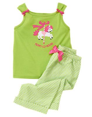 Girls Carousel Green Merry-Go-Round Two-Piece Pajama Set by Gymboree