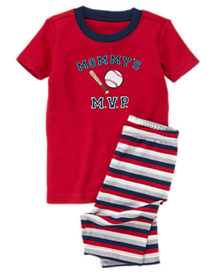 Toddler Boys Baseball Red Mommy's MVP Shortie Two-Piece Gymmies® by Gymboree