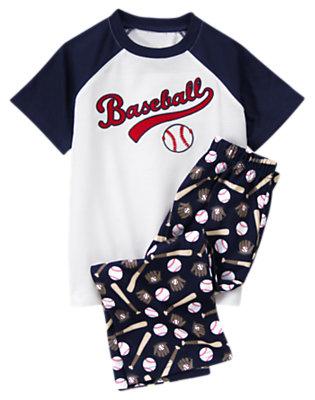 Boys White Baseball Two-Piece Pajama Set by Gymboree