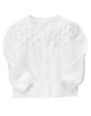 Toddler Girls White Smocked Cardigan Sweater by Gymboree