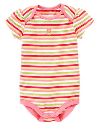 Pink Posy Stripe Stripe Bodysuit by Gymboree