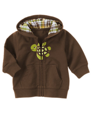 Chocolate Brown Turtle Hoodie by Gymboree
