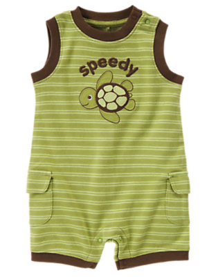 Turtle Green Skinny Stripe Turtle Stripe Shortie One-Piece by Gymboree