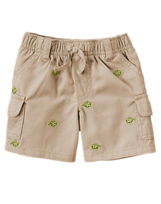 Khaki Embroidered Turtle Twill Cargo Short by Gymboree