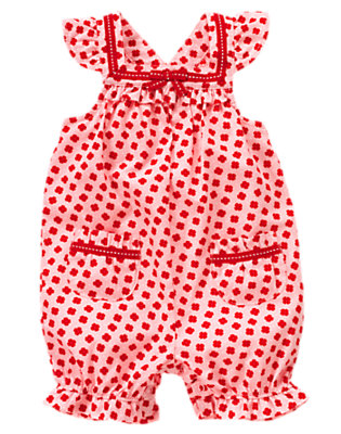 Pink Poppy Poppy Pindot Shortall by Gymboree