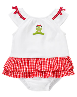 White Frog Plaid Skirted One-Piece by Gymboree