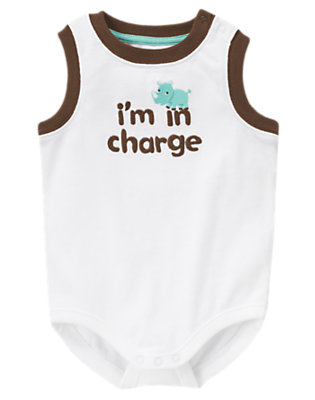 White I'm In Charge Tank Bodysuit by Gymboree