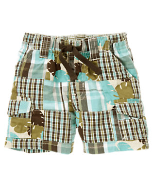 Marine Blue Patchwork Plaid Patchwork Cargo Short by Gymboree