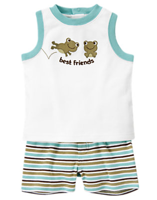 Marine Blue Stripe Frog Friends Two-Piece Set by Gymboree