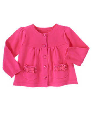 Baby Seahorse Pink Bow Pocket Cardigan Sweater by Gymboree