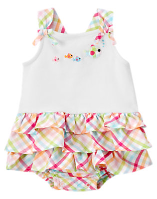 Baby White Fish Ruffle Tiered Bodysuit by Gymboree