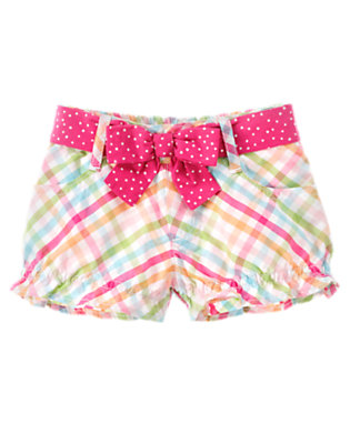 Seahorse Pink Check Belted Check Short by Gymboree