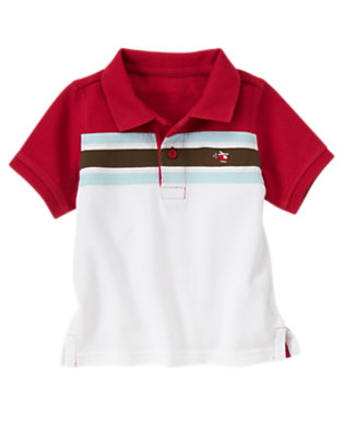 Rescue Red Chest Stripe Pique Polo Shirt by Gymboree