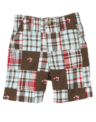 Chocolate Brown Plaid Plaid Patchwork Helicopter Short by Gymboree