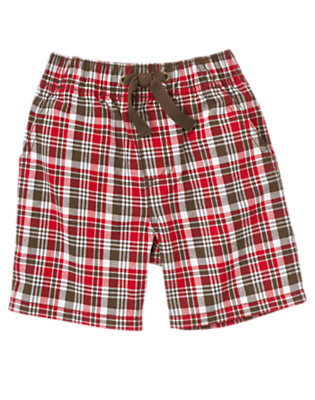 Rescue Red Plaid Pull-On Plaid Short by Gymboree