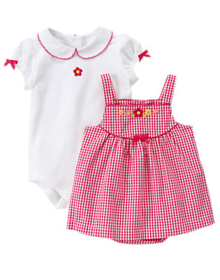 Raspberry Gingham Brand New Baby Floral Gingham Two-Piece Set by Gymboree