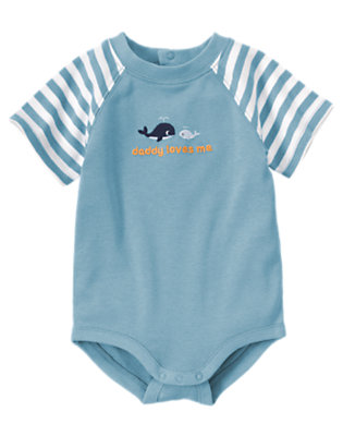 Whale Blue Stripe Daddy Loves Me Whale Bodysuit by Gymboree