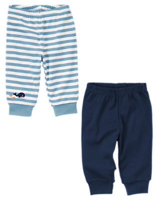 Baby Whale Blue Stripe Whale Legging Two-Pack by Gymboree