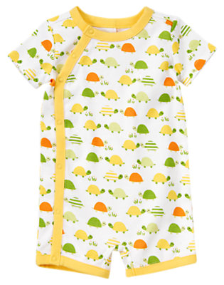 White Turtle Turtle Shortie One-Piece by Gymboree