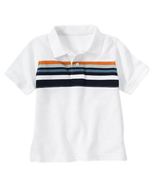 Boys White Chest Stripe Pique Polo Shirt by Gymboree