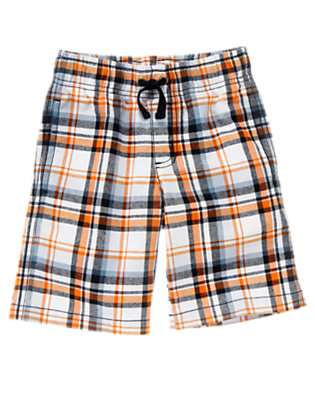 Boys White Plaid Pull-On Plaid Short by Gymboree