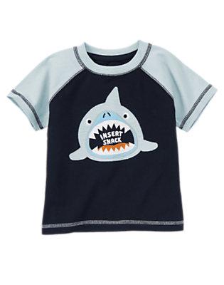 Toddler Boys Deep Sea Navy Insert Snack Shark Tee by Gymboree