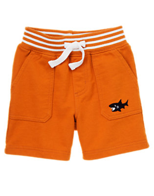 Starfish Orange Shark Knit Active Short by Gymboree