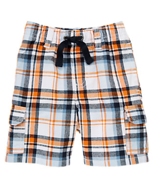 Baby White Plaid Pull-On White Plaid Cargo Short by Gymboree