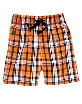 Starfish Orange Plaid Pull-On Plaid Short by Gymboree