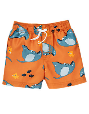 Toddler Boys Starfish Orange Manta Ray Swim Trunk by Gymboree