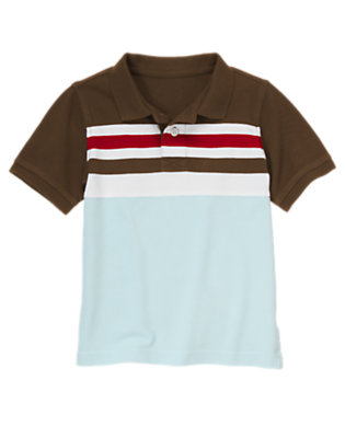 Chocolate Brown Chest Stripe Pique Polo Shirt by Gymboree