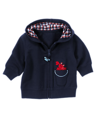 Summer Navy Lobster Hoodie by Gymboree