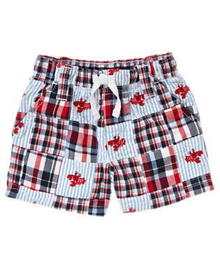 Summer Navy Plaid Lobster Plaid Patchwork Short by Gymboree