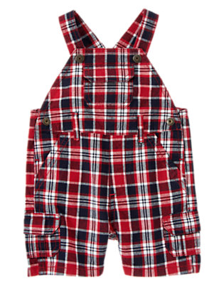 Lobster Red Plaid Lobster Red Plaid Cargo Shortall by Gymboree