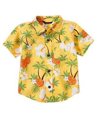 Pineapple Yellow Floral Pineapple Print Shirt by Gymboree