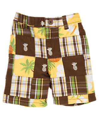 Chocolate Brown Patchwork Pineapple Plaid Patchwork Short by Gymboree