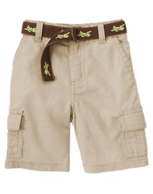 Khaki Belted Linen Blend Cargo Short by Gymboree