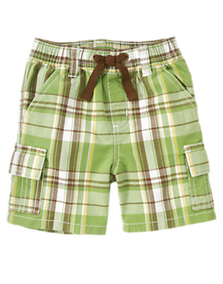 Palm Green Plaid Pull-On Palm Green Plaid Cargo Short by Gymboree