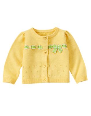 Lemon Yellow Bow Cardigan Sweater by Gymboree