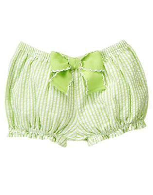 Lime Stripe Bow Ruffle Stripe Bloomer by Gymboree